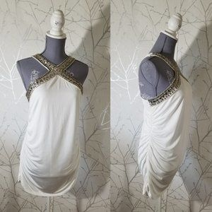 Cache NWT White Jeweled Halter Neck Ruched Blouse